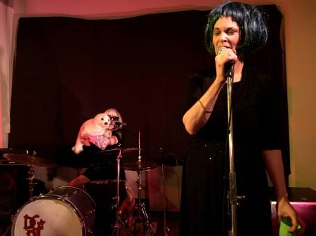 Marilyn, Tallulah and Newf live on stage at the FND