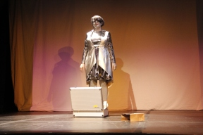Robot Comedienne, from Liz Solo's She, Robot; photo Shawn Carnegie